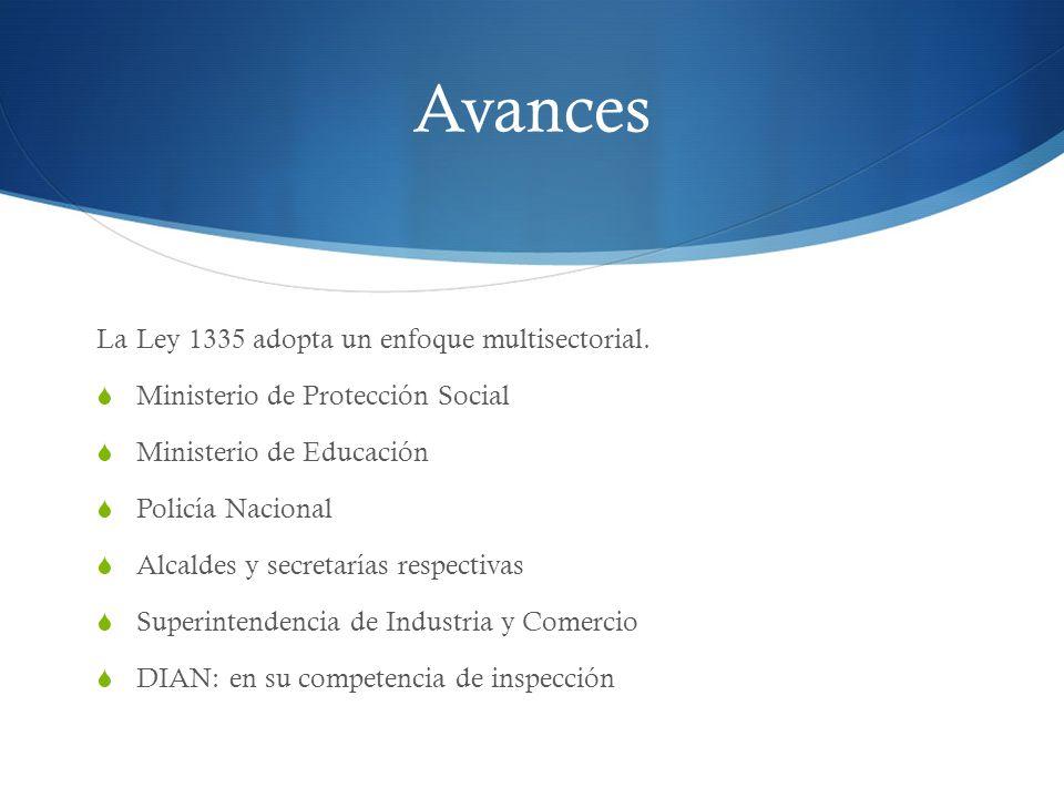 Avances La Ley 1335 adopta un enfoque multisectorial. Ministerio de Protección Social Ministerio de Educación Policía Nacional Alcaldes y secretarías
