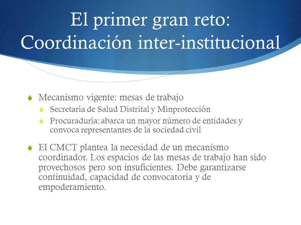 El primer gran reto: Coordinación inter-institucional Mecanismo vigente: mesas de trabajo Secretaría de Salud Distrital y Minprotección Procuraduría:
