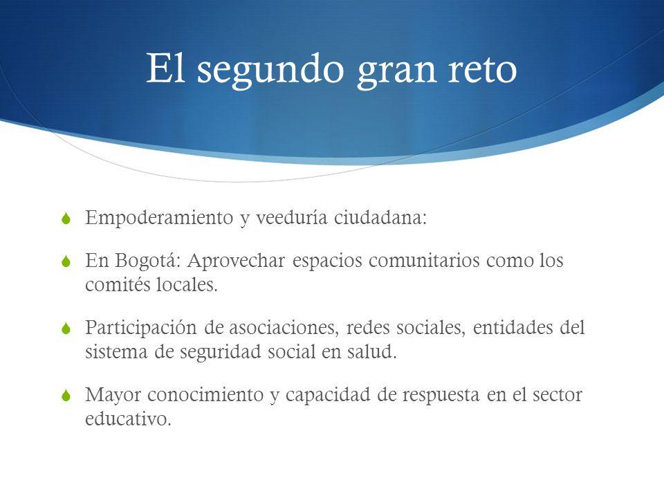 El segundo gran reto Empoderamiento y veeduría ciudadana: En Bogotá: Aprovechar espacios comunitarios como los comités locales. Participación de asoci