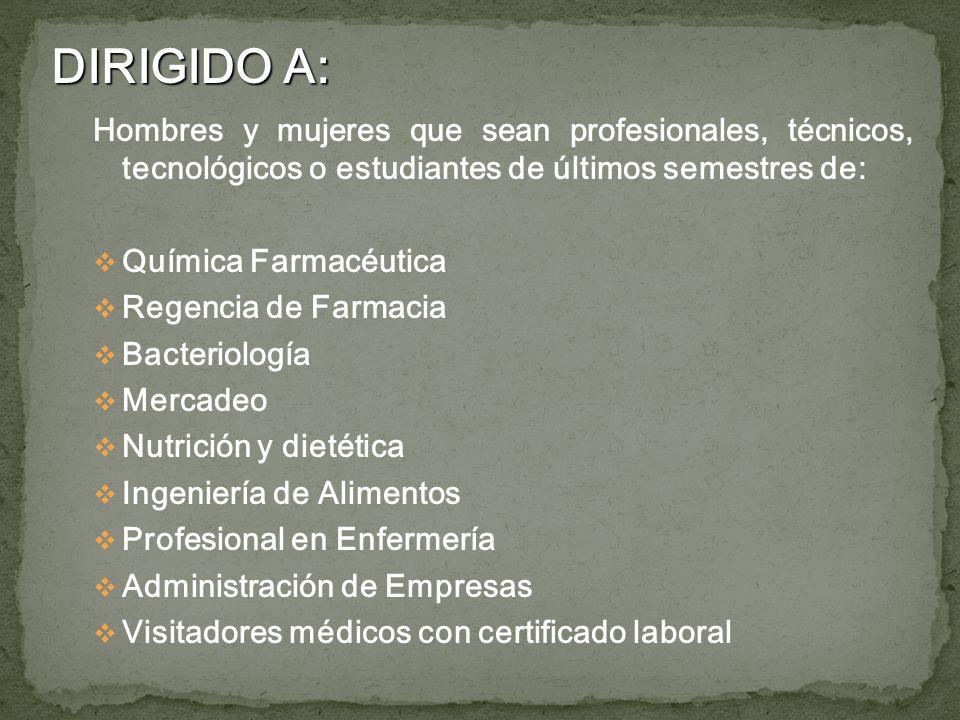 Hombres y mujeres que sean profesionales, técnicos, tecnológicos o estudiantes de últimos semestres de: Química Farmacéutica Regencia de Farmacia Bact