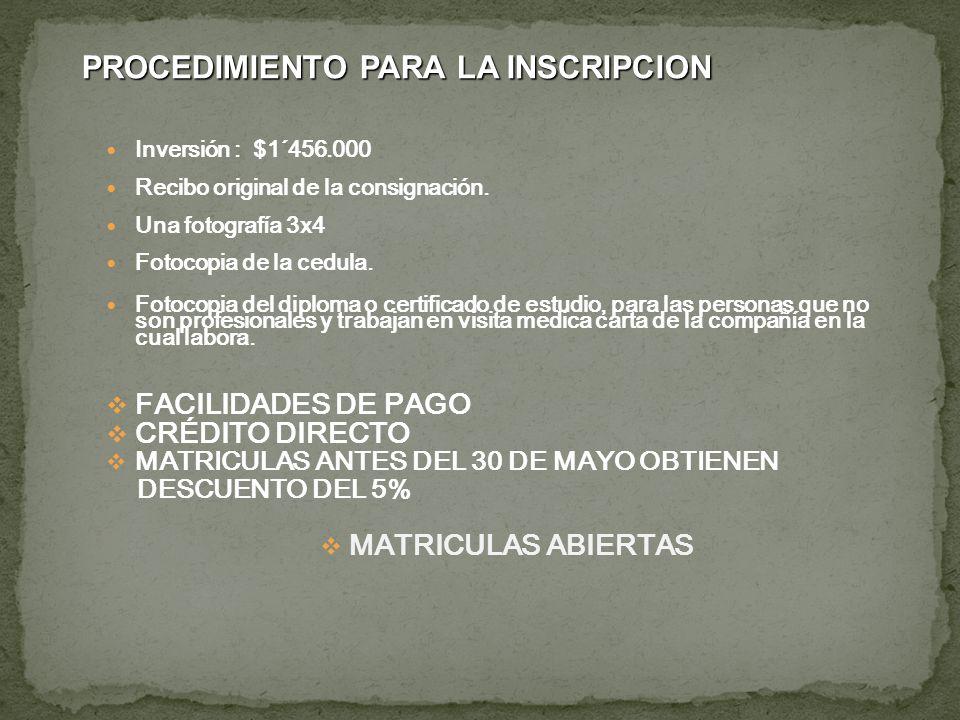 Inversión : $1´456.000 Recibo original de la consignación. Una fotografía 3x4 Fotocopia de la cedula. Fotocopia del diploma o certificado de estudio,