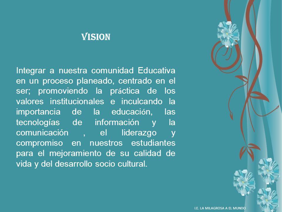 VISION Integrar a nuestra comunidad Educativa en un proceso planeado, centrado en el ser; promoviendo la pr á ctica de los valores institucionales e i