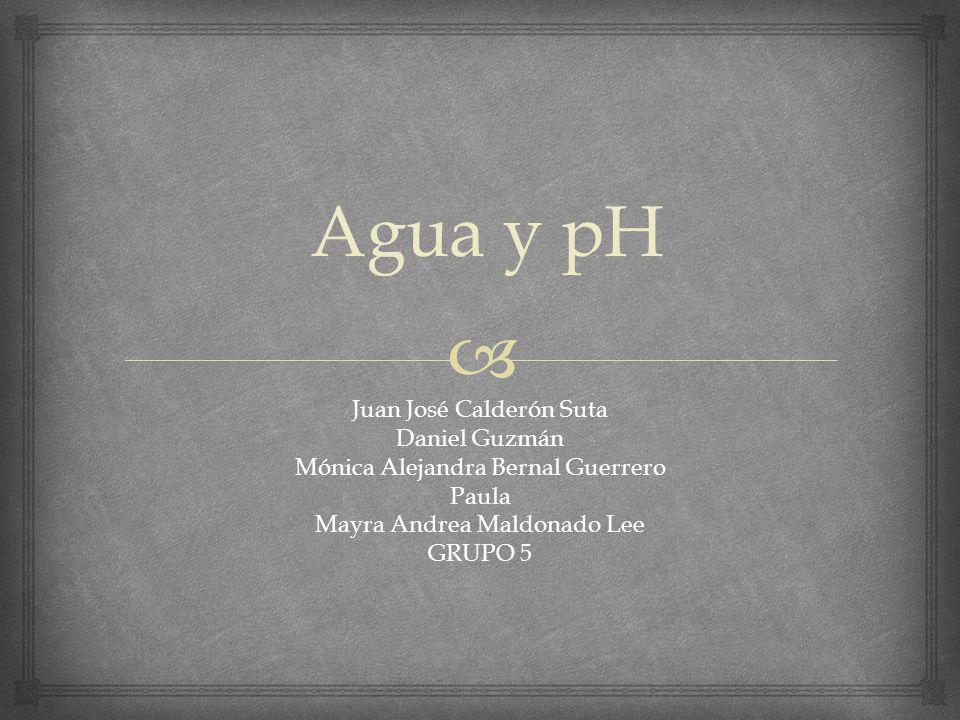 Agua y pH Juan José Calderón Suta Daniel Guzmán Mónica Alejandra Bernal Guerrero Paula Mayra Andrea Maldonado Lee GRUPO 5