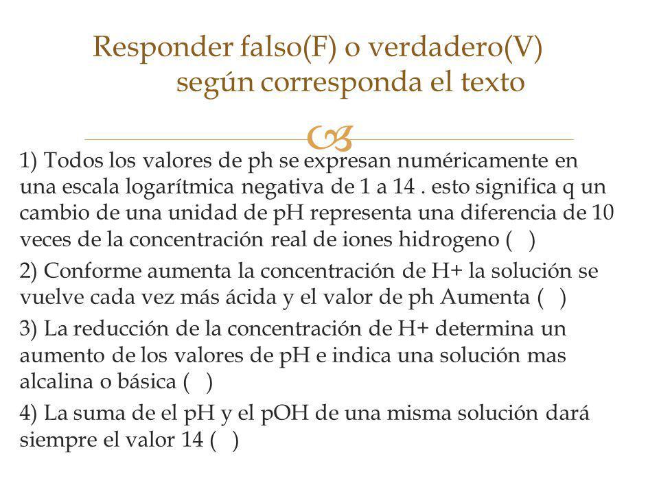 1) Todos los valores de ph se expresan numéricamente en una escala logarítmica negativa de 1 a 14.