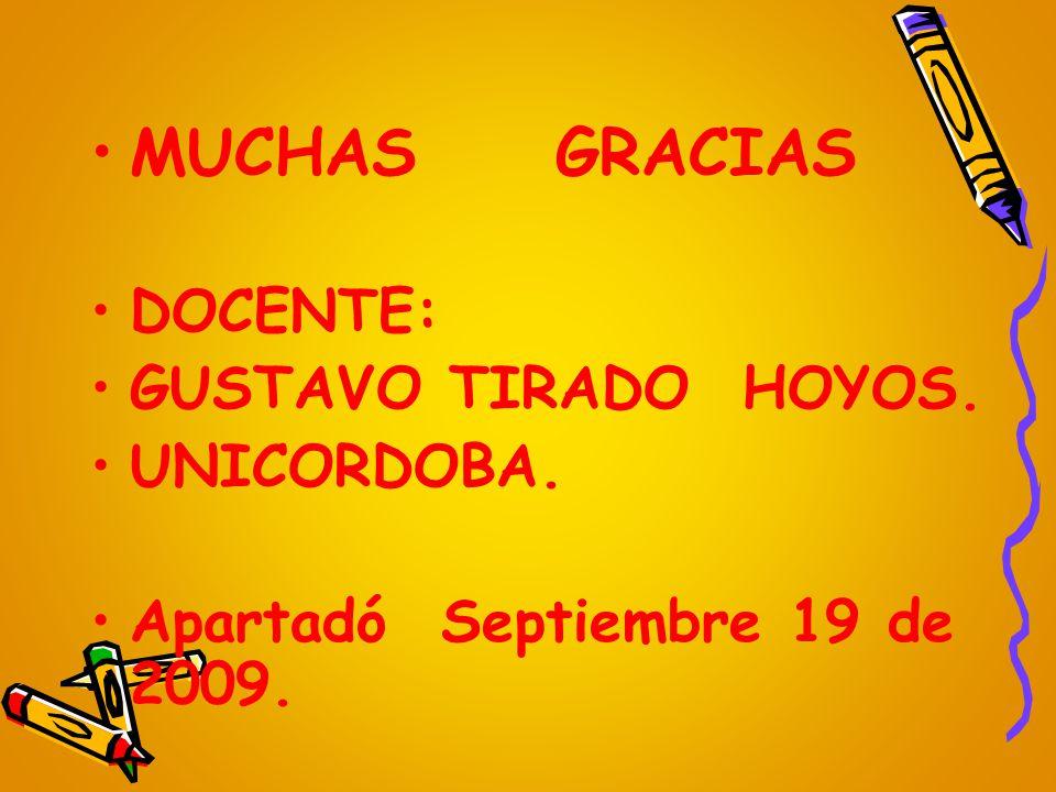 MUCHAS GRACIAS DOCENTE: GUSTAVO TIRADO HOYOS. UNICORDOBA. Apartadó Septiembre 19 de 2009.