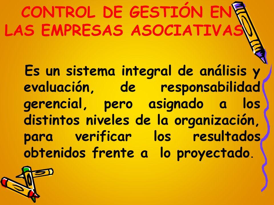 CONTROL DE GESTIÓN EN LAS EMPRESAS ASOCIATIVAS Es un sistema integral de análisis y evaluación, de responsabilidad gerencial, pero asignado a los dist