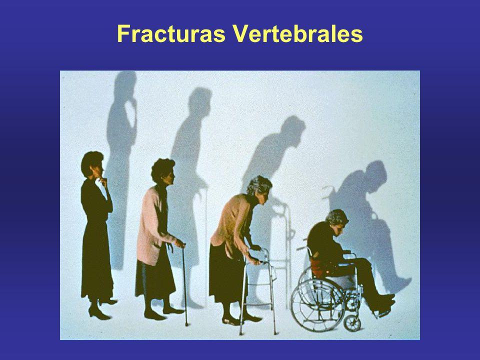 Osteoporos Int (2008) Valorando el riesgo de fractura Osteoporos Int (2008) Indicador de riesgo Sin BMDCon BMD RR95% CIRR95% CI IMC (20 v 25 kg/m 2 )1.951.71 - 2.221.421.23 - 1.65 (30 v 25 kg/m 2 )0.830.69 - 0.991.000.82 - 1.21 Fractura previa despues de 50 años1.851.58 - 2.171.621.30 - 2.01 Historia familiar fractura de cadera2.271.47 - 33.492.281.48 - 3.51 tabaquismo1.841.52 - 2.221.601.27 - 2.02 Uso de corticoides2.311.67 - 3.202.251.60 - 3.15 Ingesta alcohol1.681.19 - 2.361.701.20 - 2.42 Artritis reumatoidea1.951.11 - 3.421.730.94 - 3.20