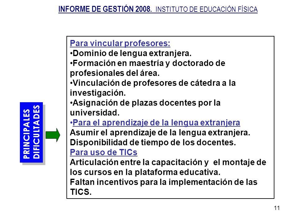 11 PRINCIPALES DIFICULTADES PRINCIPALES DIFICULTADES Para vincular profesores: Dominio de lengua extranjera. Formación en maestría y doctorado de prof