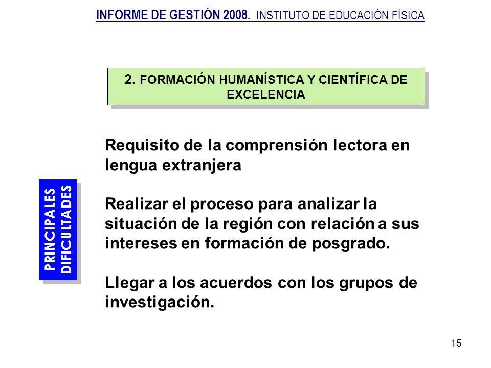 15 PRINCIPALES DIFICULTADES Requisito de la comprensión lectora en lengua extranjera Realizar el proceso para analizar la situación de la región con r