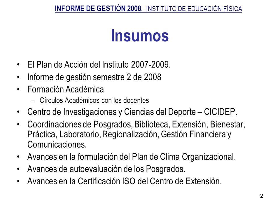 2 Insumos El Plan de Acción del Instituto 2007-2009. Informe de gestión semestre 2 de 2008 Formación Académica –Círculos Académicos con los docentes C
