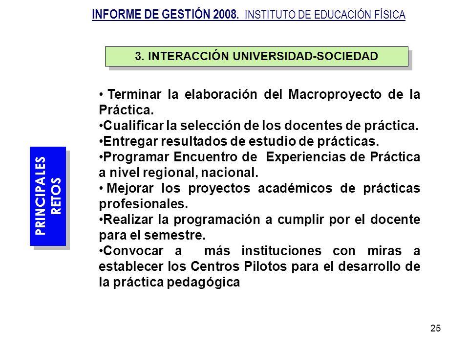 25 Terminar la elaboración del Macroproyecto de la Práctica. Cualificar la selección de los docentes de práctica. Entregar resultados de estudio de pr