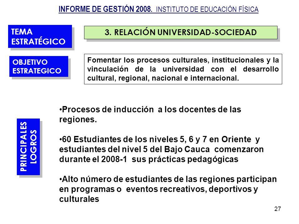 27 3. RELACIÓN UNIVERSIDAD-SOCIEDAD Fomentar los procesos culturales, institucionales y la vinculación de la universidad con el desarrollo cultural, r