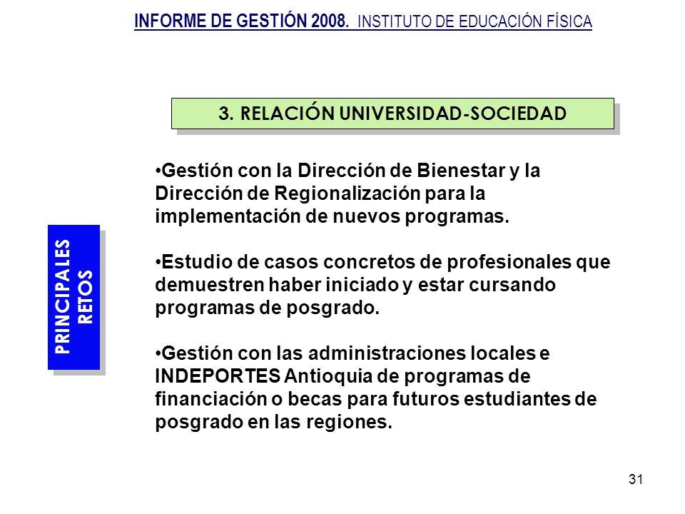 31 Gestión con la Dirección de Bienestar y la Dirección de Regionalización para la implementación de nuevos programas. Estudio de casos concretos de p
