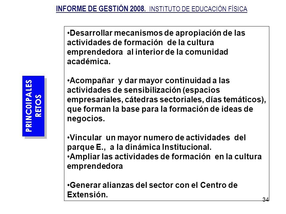 34 PRINC0IPALES RETOS PRINC0IPALES RETOS Desarrollar mecanismos de apropiación de las actividades de formación de la cultura emprendedora al interior