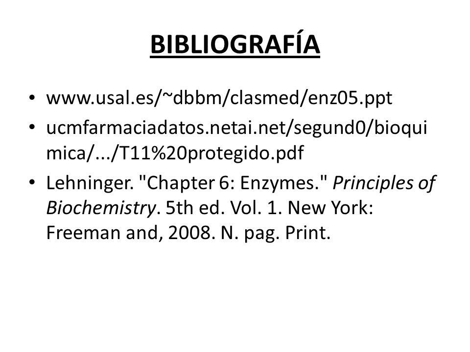 BIBLIOGRAFÍA www.usal.es/~dbbm/clasmed/enz05.ppt ucmfarmaciadatos.netai.net/segund0/bioqui mica/.../T11%20protegido.pdf Lehninger.