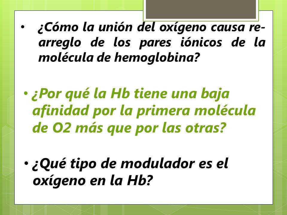 ¿Cómo la unión del oxígeno causa re- arreglo de los pares iónicos de la molécula de hemoglobina? ¿Por qué la Hb tiene una baja afinidad por la primera