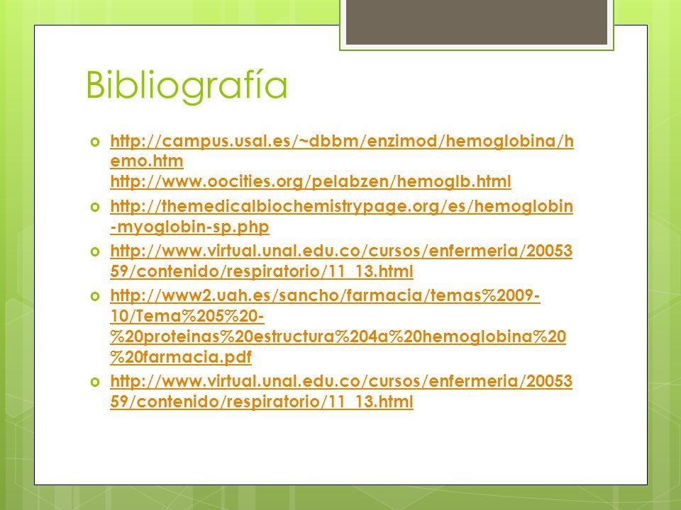 Bibliografía http://campus.usal.es/~dbbm/enzimod/hemoglobina/h emo.htm http://www.oocities.org/pelabzen/hemoglb.html http://campus.usal.es/~dbbm/enzim