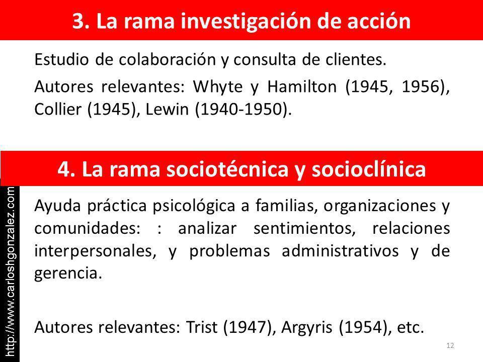 3. La rama investigación de acción Ayuda práctica psicológica a familias, organizaciones y comunidades: : analizar sentimientos, relaciones interperso