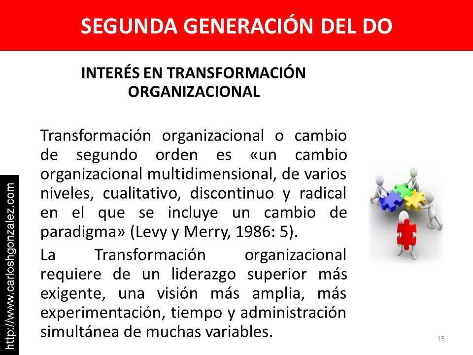 SEGUNDA GENERACIÓN DEL DO INTERÉS EN TRANSFORMACIÓN ORGANIZACIONAL Transformación organizacional o cambio de segundo orden es «un cambio organizacional multidimensional, de varios niveles, cualitativo, discontinuo y radical en el que se incluye un cambio de paradigma» (Levy y Merry, 1986: 5).