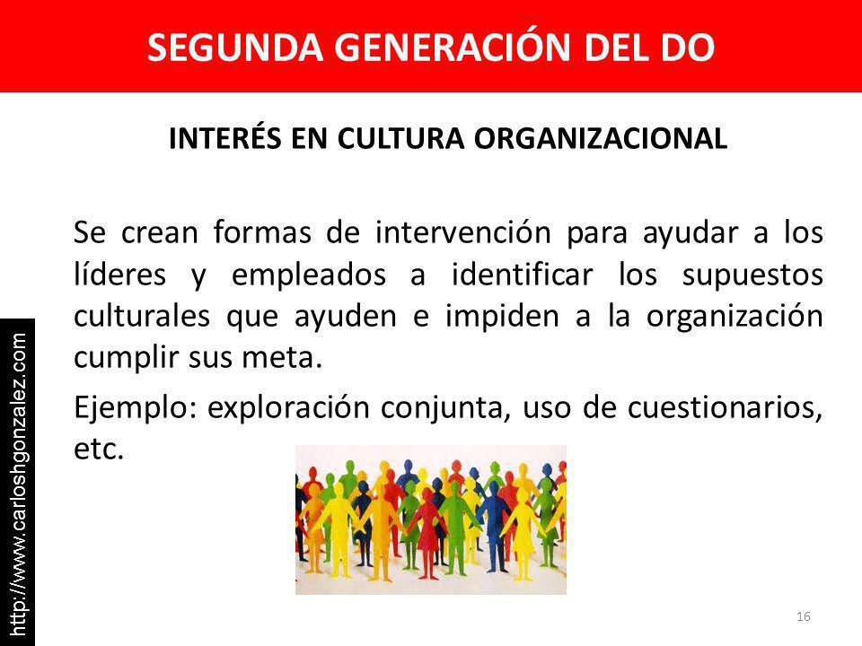 SEGUNDA GENERACIÓN DEL DO INTERÉS EN CULTURA ORGANIZACIONAL Se crean formas de intervención para ayudar a los líderes y empleados a identificar los su