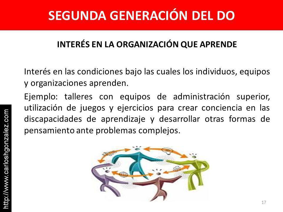 SEGUNDA GENERACIÓN DEL DO INTERÉS EN LA ORGANIZACIÓN QUE APRENDE Interés en las condiciones bajo las cuales los individuos, equipos y organizaciones a