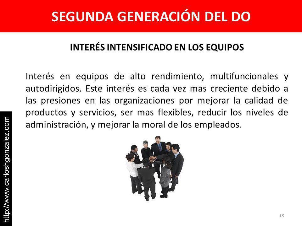 SEGUNDA GENERACIÓN DEL DO INTERÉS INTENSIFICADO EN LOS EQUIPOS Interés en equipos de alto rendimiento, multifuncionales y autodirigidos. Este interés