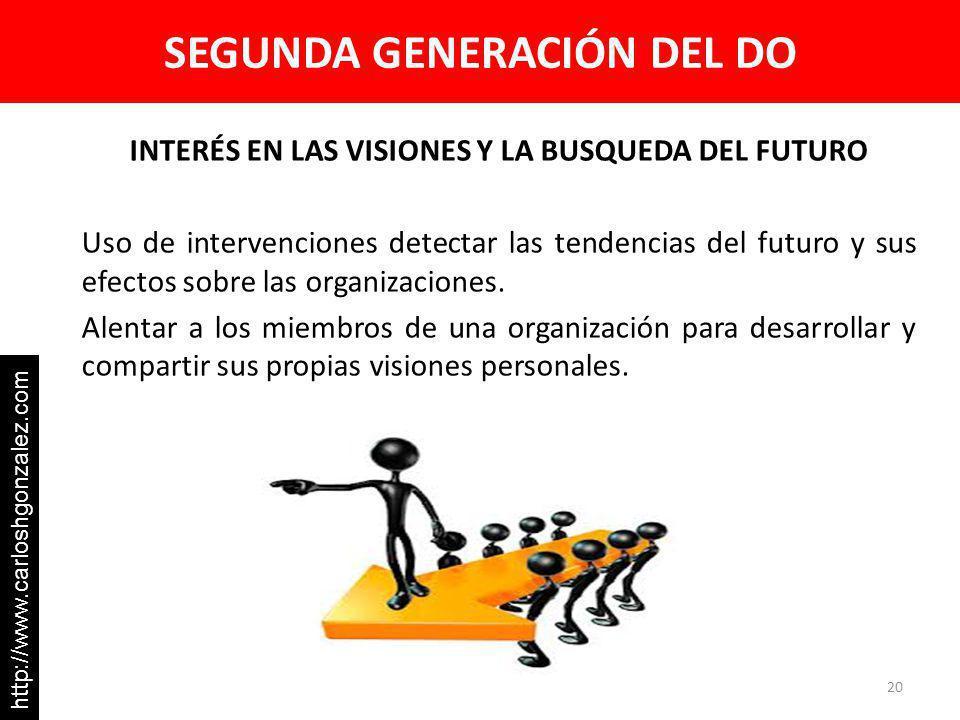 SEGUNDA GENERACIÓN DEL DO INTERÉS EN LAS VISIONES Y LA BUSQUEDA DEL FUTURO Uso de intervenciones detectar las tendencias del futuro y sus efectos sobre las organizaciones.