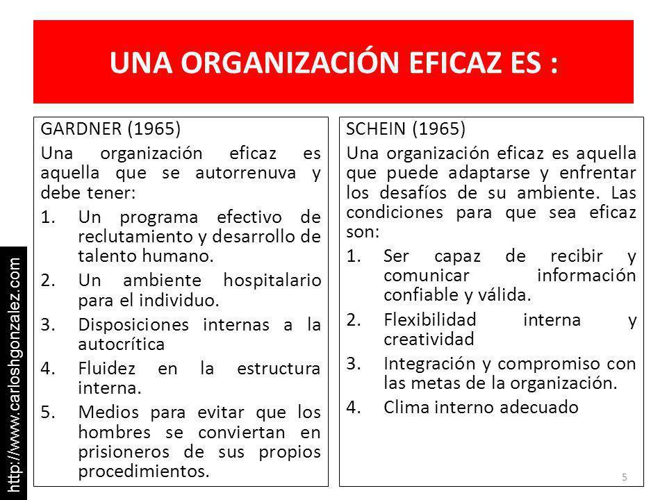 UNA ORGANIZACIÓN EFICAZ ES : GARDNER (1965) Una organización eficaz es aquella que se autorrenuva y debe tener: 1.Un programa efectivo de reclutamiento y desarrollo de talento humano.