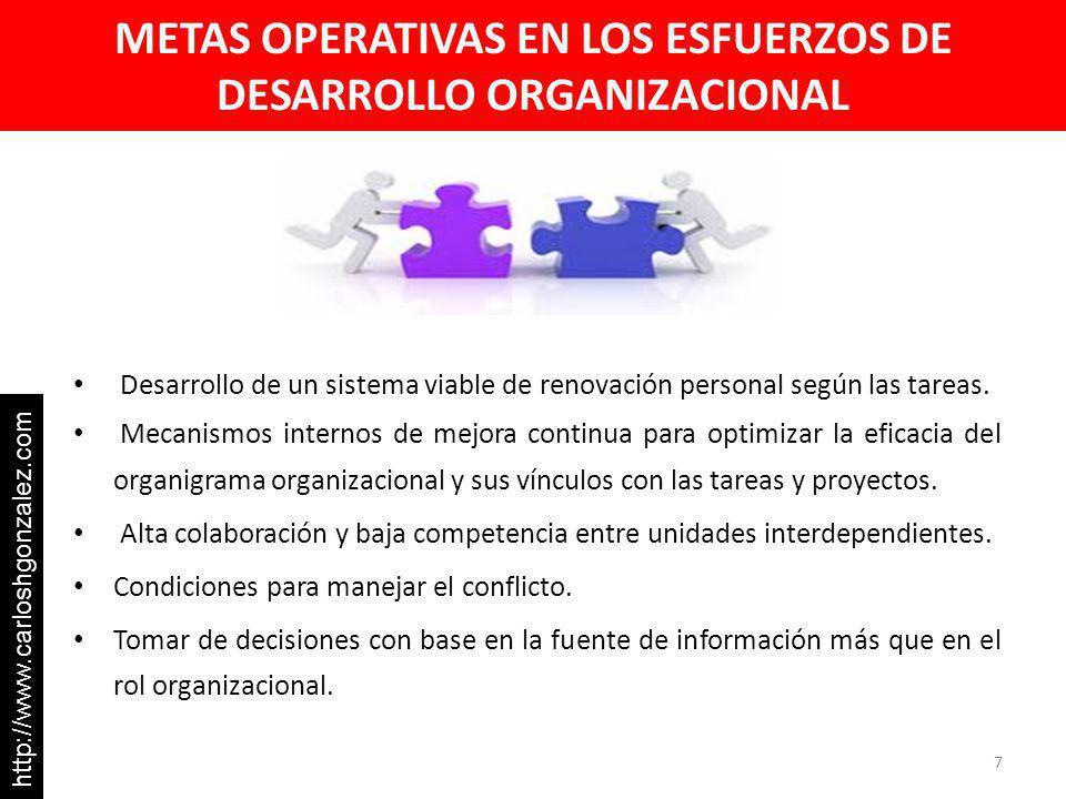METAS OPERATIVAS EN LOS ESFUERZOS DE DESARROLLO ORGANIZACIONAL Desarrollo de un sistema viable de renovación personal según las tareas.