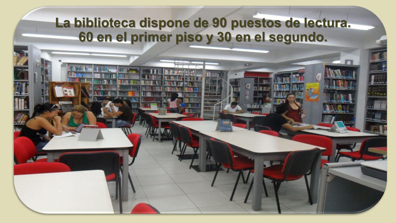 La biblioteca dispone de 90 puestos de lectura. 60 en el primer piso y 30 en el segundo.