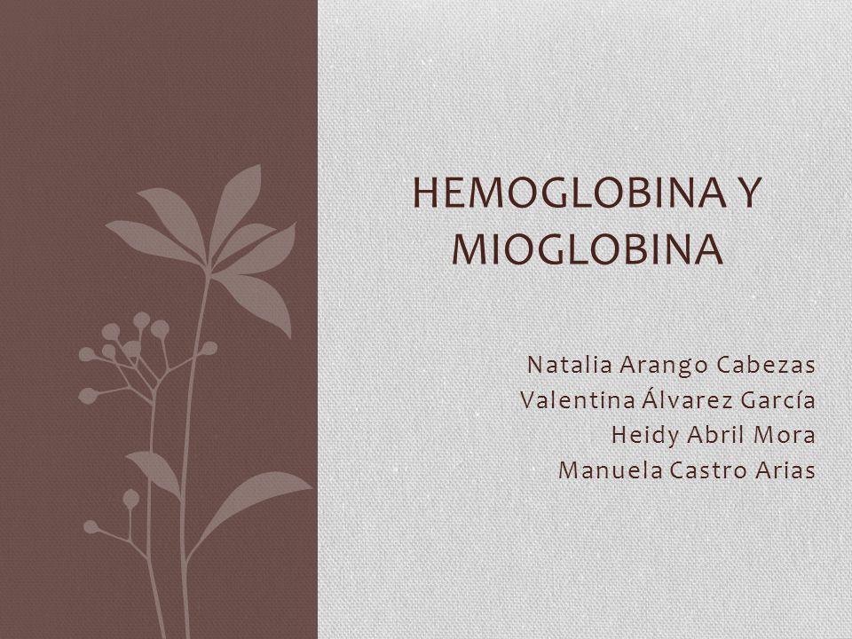 Natalia Arango Cabezas Valentina Álvarez García Heidy Abril Mora Manuela Castro Arias HEMOGLOBINA Y MIOGLOBINA
