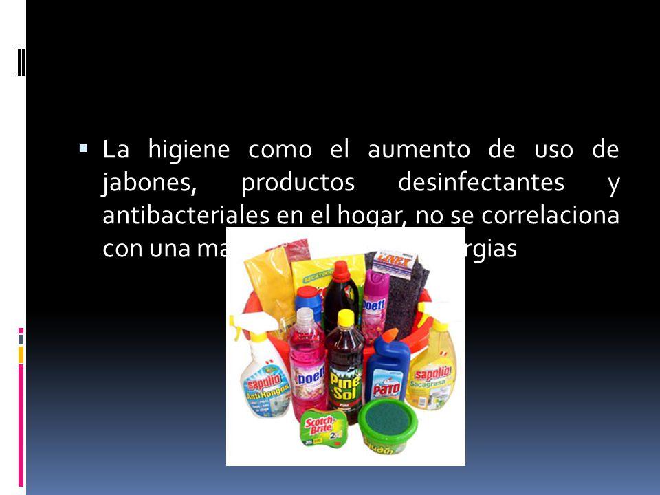 La higiene como el aumento de uso de jabones, productos desinfectantes y antibacteriales en el hogar, no se correlaciona con una mayor incidencia de a