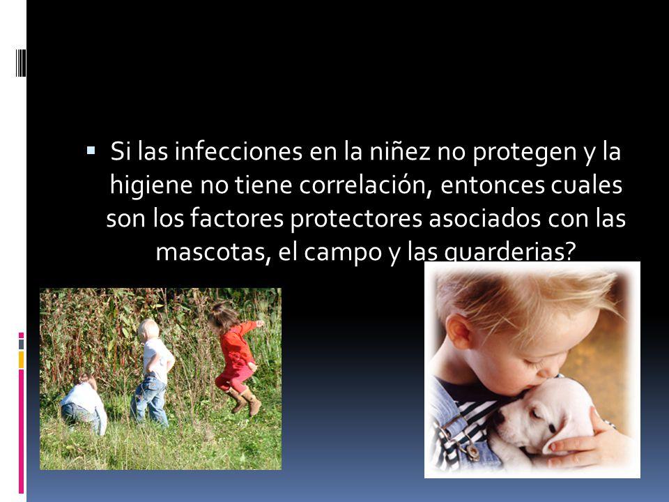 Si las infecciones en la niñez no protegen y la higiene no tiene correlación, entonces cuales son los factores protectores asociados con las mascotas,