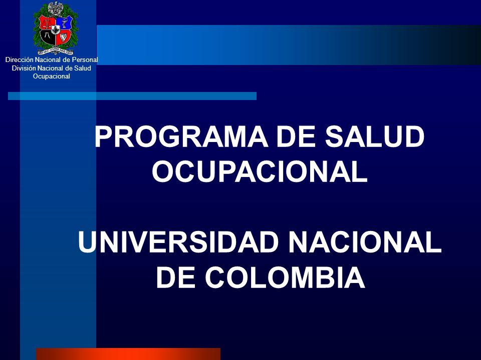 Dirección Nacional de Personal División Nacional de Salud Ocupacional ACTIVIDADES DIRIGIDAS A LOS AMBIENTES DE TRABAJO PROGRAMA DE SALUD OCUPACIONAL