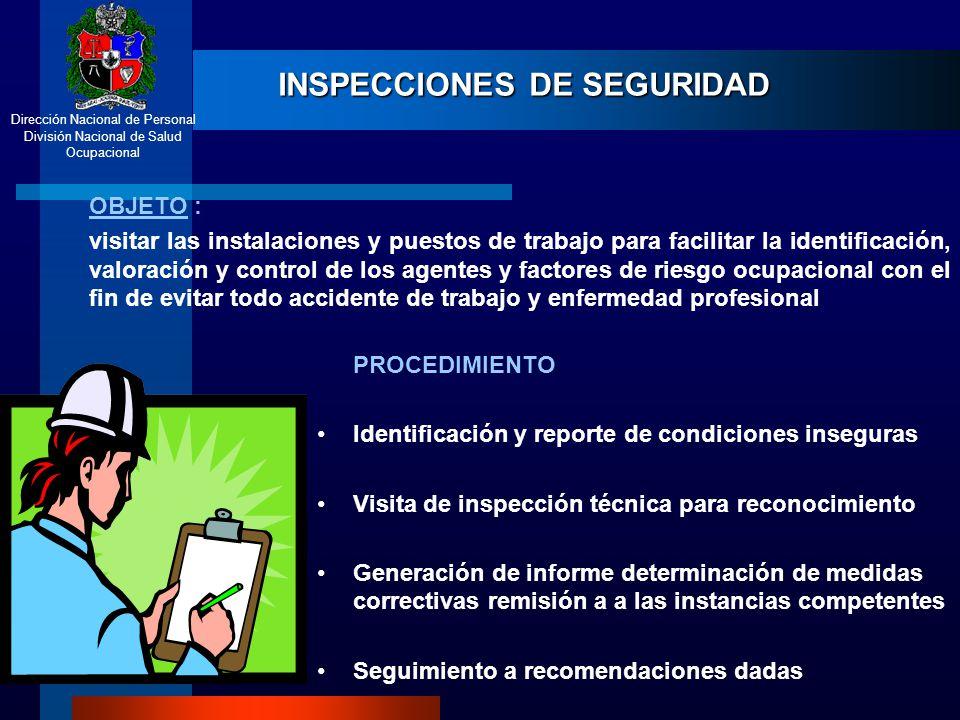 Dirección Nacional de Personal División Nacional de Salud Ocupacional INSPECCIONES DE SEGURIDAD OBJETO : visitar las instalaciones y puestos de trabaj