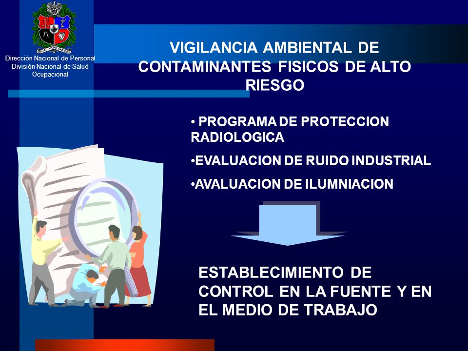 Dirección Nacional de Personal División Nacional de Salud Ocupacional VIGILANCIA AMBIENTAL DE CONTAMINANTES FISICOS DE ALTO RIESGO PROGRAMA DE PROTECC