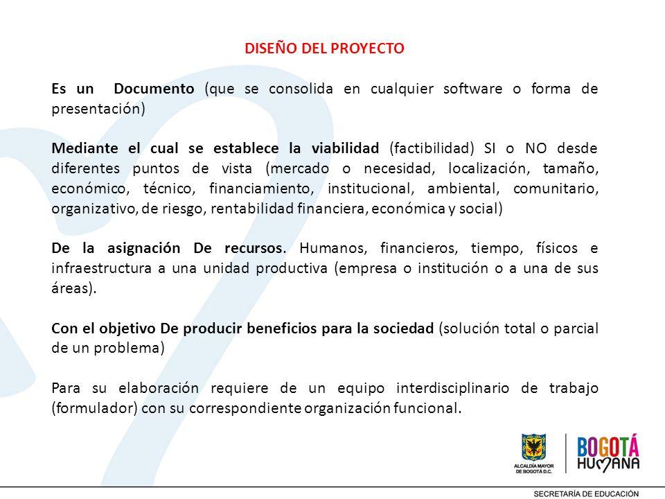 DISEÑO DEL PROYECTO Es un Documento (que se consolida en cualquier software o forma de presentación) Mediante el cual se establece la viabilidad (fact