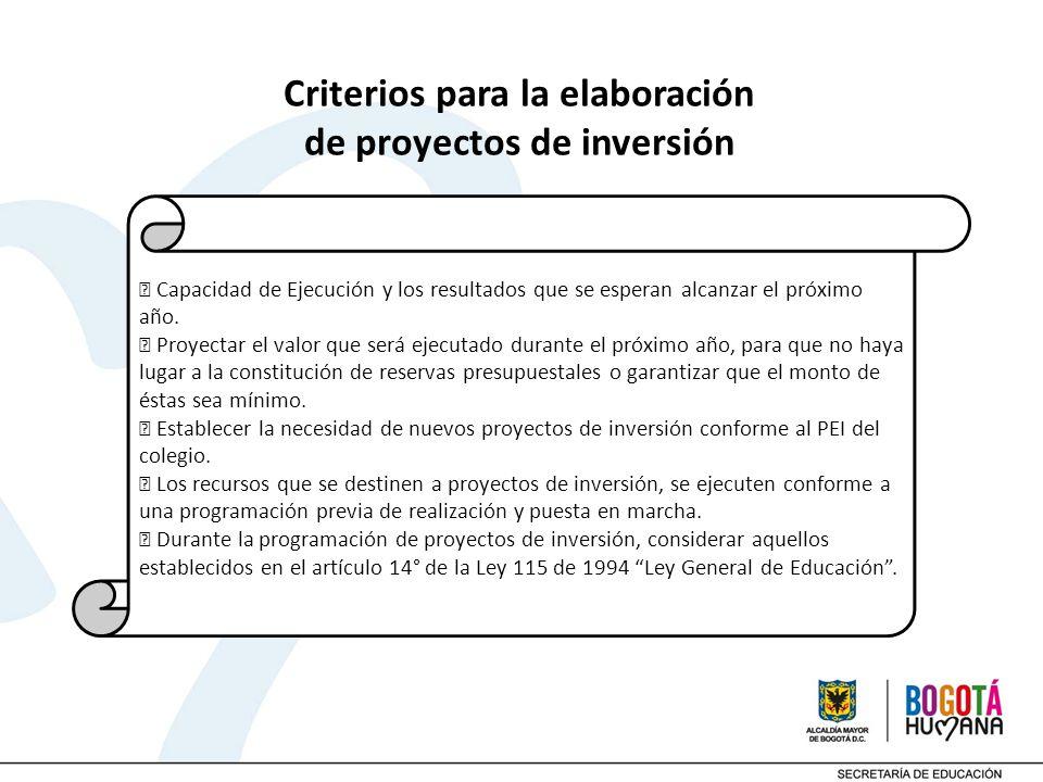 Criterios para la elaboración de proyectos de inversión Capacidad de Ejecución y los resultados que se esperan alcanzar el próximo año. Proyectar el v