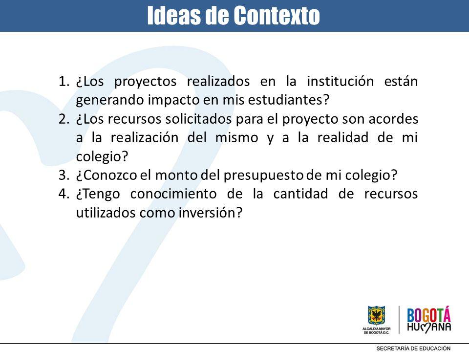 1.¿Los proyectos realizados en la institución están generando impacto en mis estudiantes? 2.¿Los recursos solicitados para el proyecto son acordes a l