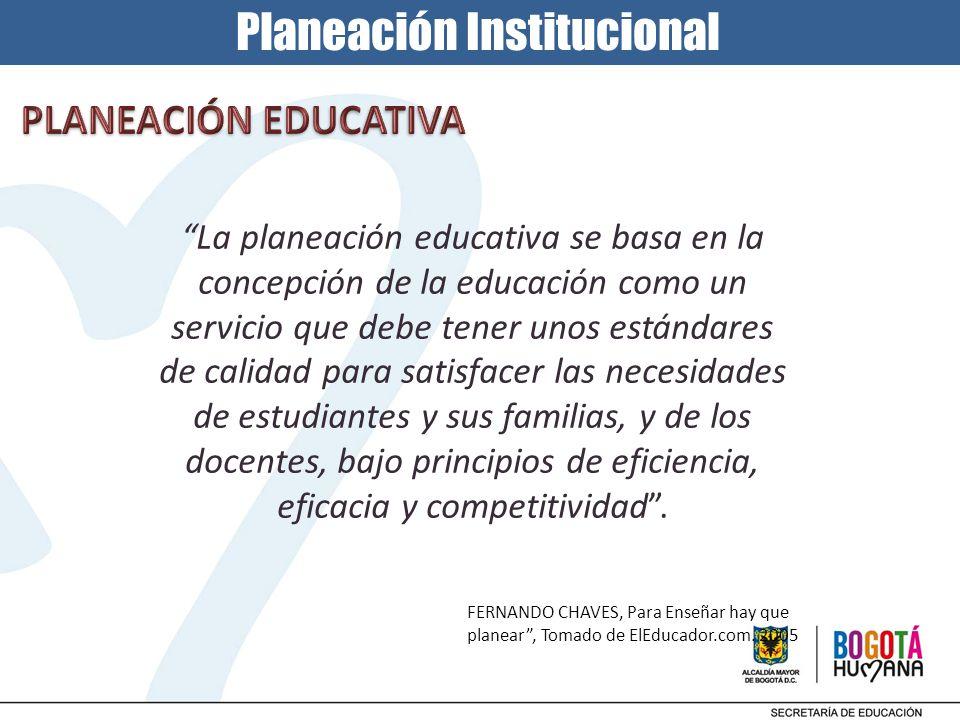 FERNANDO CHAVES, Para Enseñar hay que planear, Tomado de ElEducador.com. 2005 La planeación educativa se basa en la concepción de la educación como un