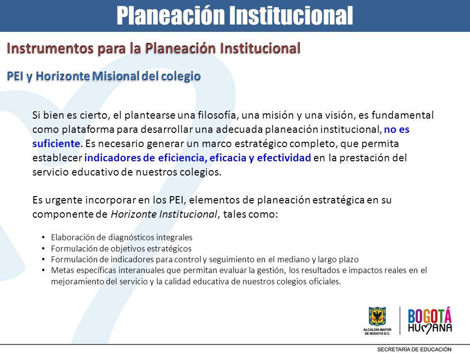 Planeación Institucional Si bien es cierto, el plantearse una filosofía, una misión y una visión, es fundamental como plataforma para desarrollar una