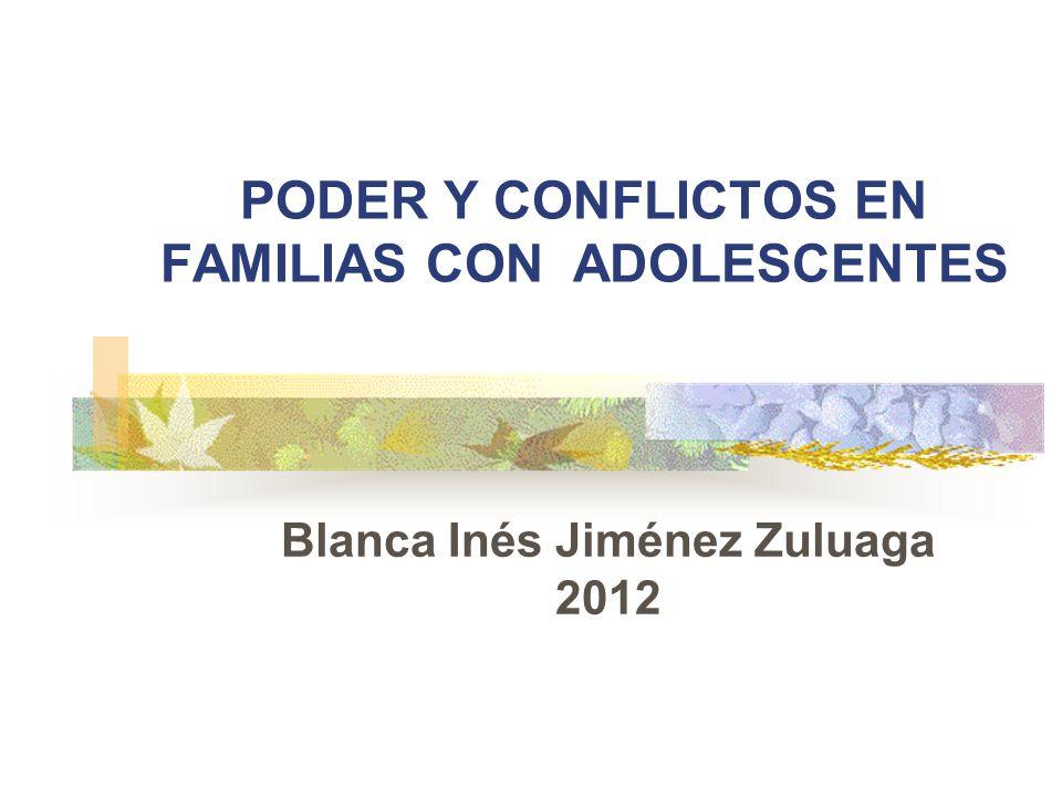 PODER Y CONFLICTOS EN FAMILIAS CON ADOLESCENTES Blanca Inés Jiménez Zuluaga 2012
