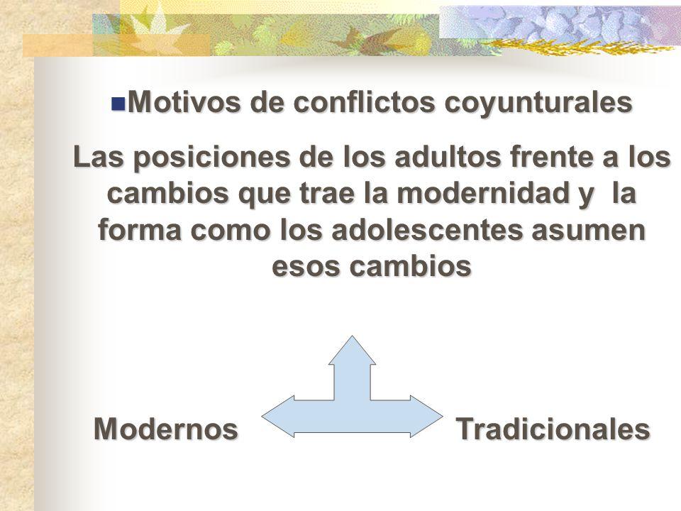 Motivos de conflictos coyunturales Motivos de conflictos coyunturales Las posiciones de los adultos frente a los cambios que trae la modernidad y la f