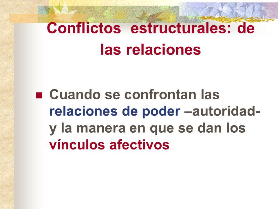 Conflictos estructurales: de las relaciones Cuando se confrontan las relaciones de poder –autoridad- y la manera en que se dan los vínculos afectivos
