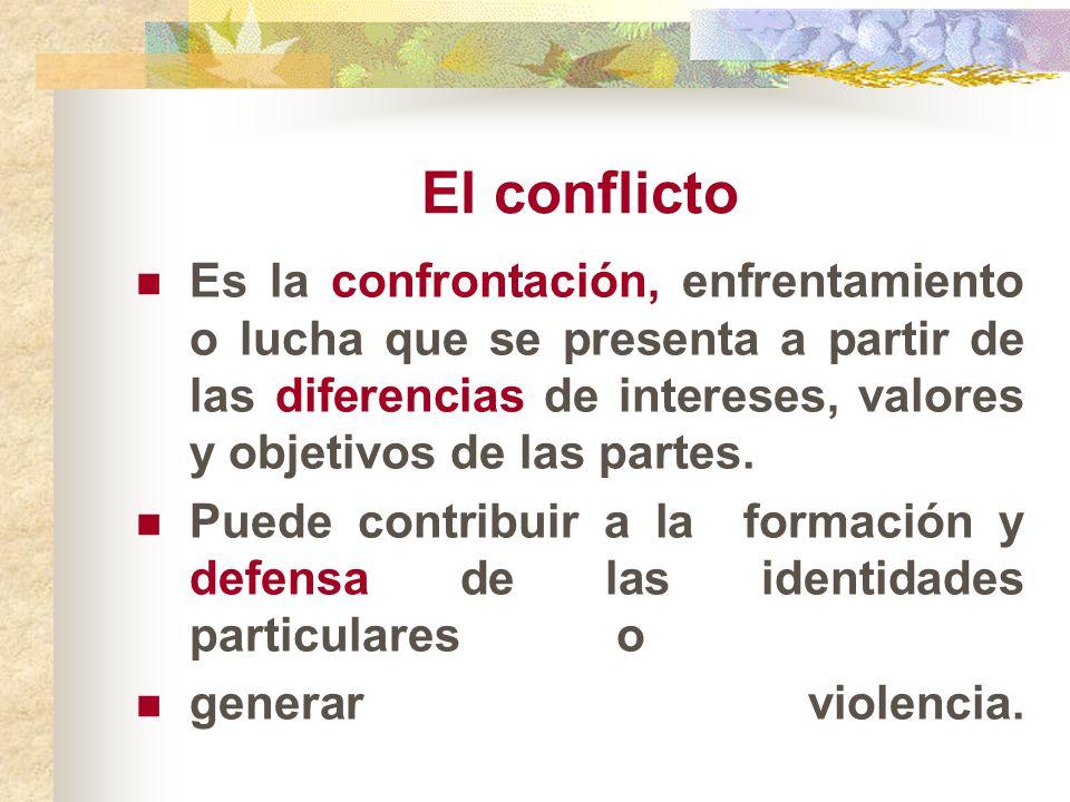 El conflicto Es la confrontación, enfrentamiento o lucha que se presenta a partir de las diferencias de intereses, valores y objetivos de las partes.