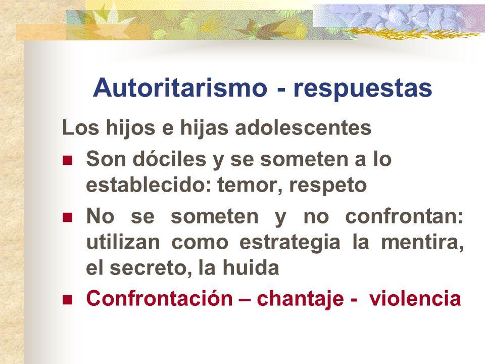 Autoritarismo - respuestas Los hijos e hijas adolescentes Son dóciles y se someten a lo establecido: temor, respeto No se someten y no confrontan: uti