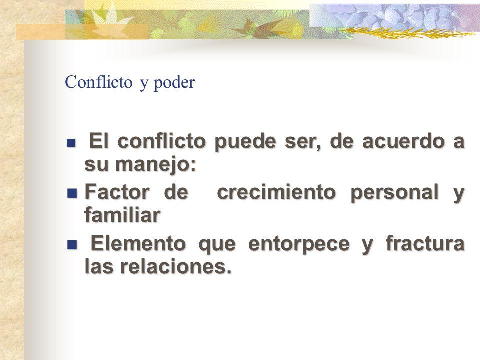 Conflicto y poder El conflicto puede ser, de acuerdo a su manejo: El conflicto puede ser, de acuerdo a su manejo: Factor de crecimiento personal y fam