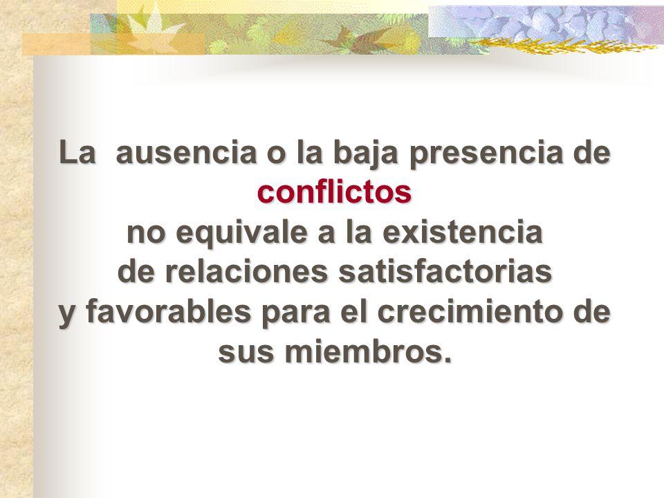 La ausencia o la baja presencia de conflictos no equivale a la existencia de relaciones satisfactorias y favorables para el crecimiento de sus miembro