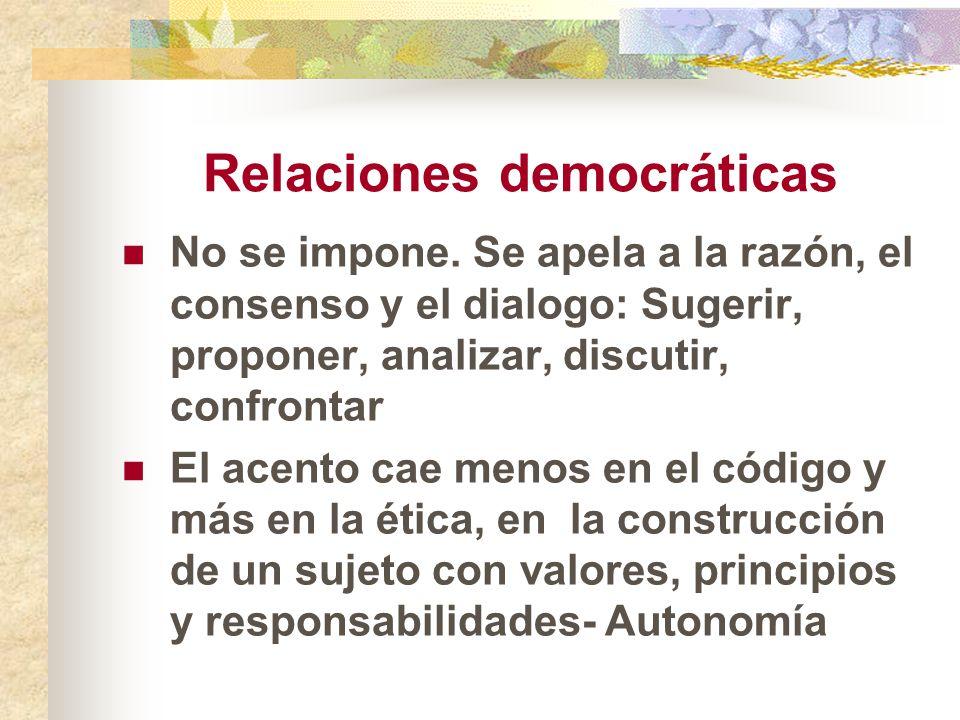 Relaciones democráticas No se impone. Se apela a la razón, el consenso y el dialogo: Sugerir, proponer, analizar, discutir, confrontar El acento cae m