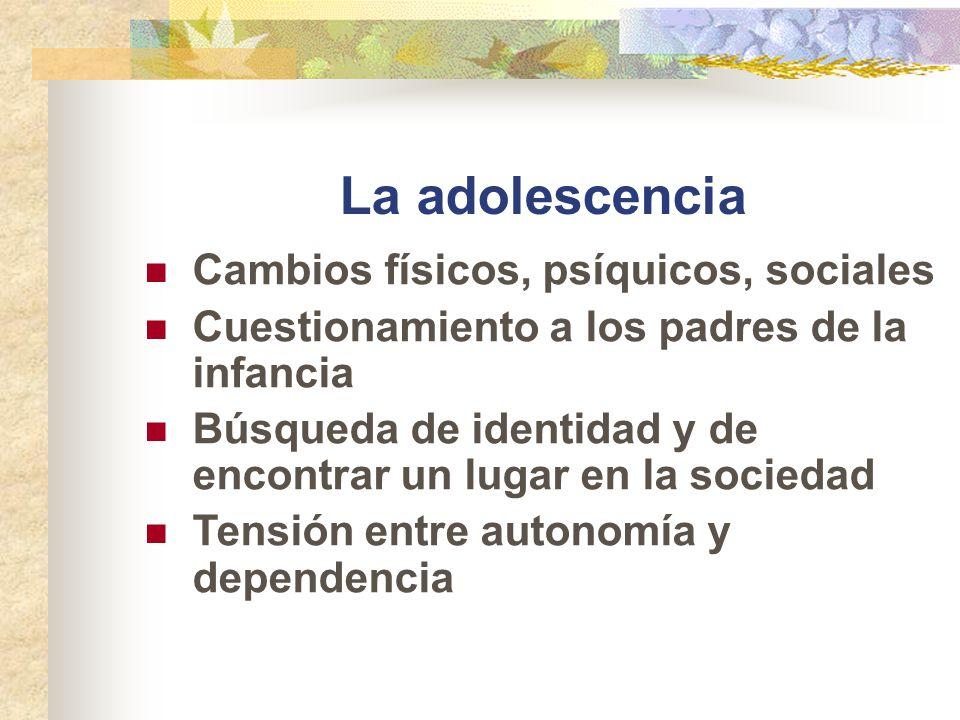 La adolescencia Cambios físicos, psíquicos, sociales Cuestionamiento a los padres de la infancia Búsqueda de identidad y de encontrar un lugar en la s